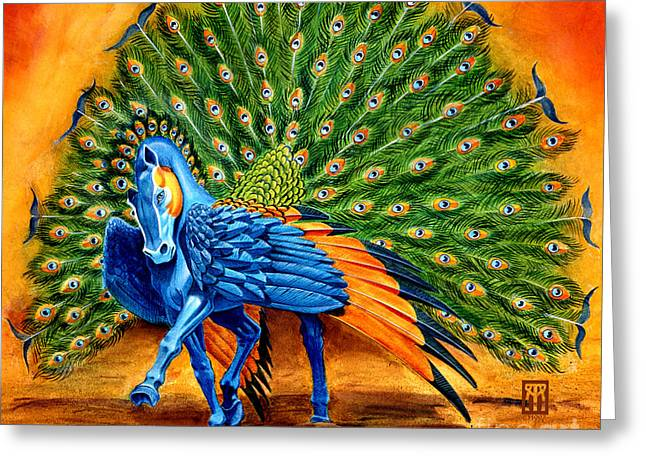 Mythology Greeting Cards - Peacock Pegasus Greeting Card by Melissa A Benson