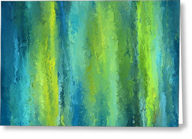 Teal.turquoise Greeting Cards - Peacock Shades Greeting Card by Lourry Legarde