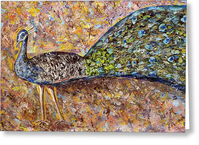 Princes Greeting Cards - Peacock Greeting Card by Thecla Correya