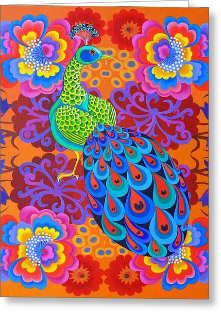 Iridescence Greeting Cards - Peacock with flowers Greeting Card by Jane Tattersfield