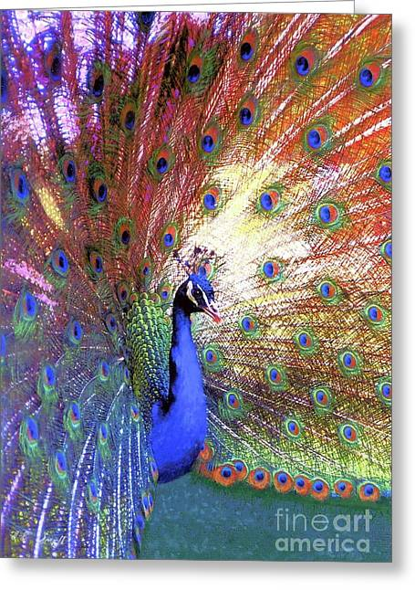 Peacock Wonder, Colorful Art Greeting Card by Jane Small