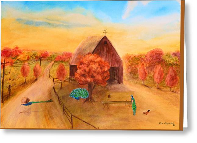 Peacock's In Autumn Greeting Card by Ken Figurski