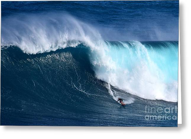 Wave Greeting Card featuring the photograph Peahi Unleashes by Jackson Kowalski