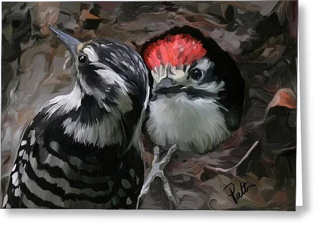 Baby Bird Greeting Cards - Peak a Boo Greeting Card by Patti Siehien