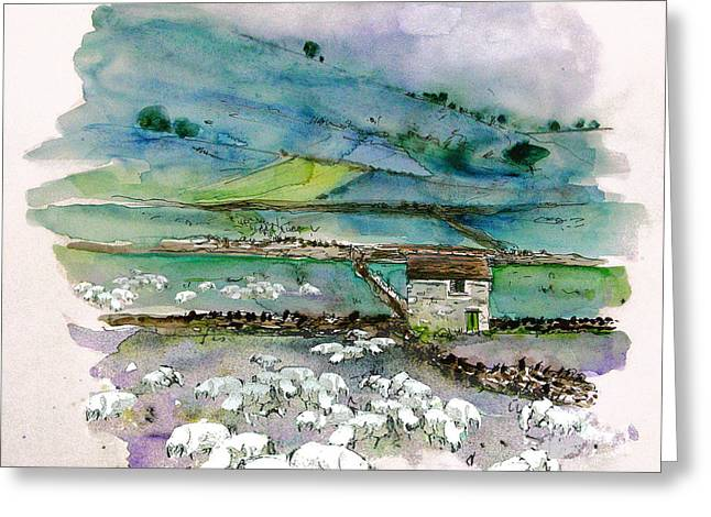 Town Mixed Media Greeting Cards - Peak District UK Travel Sketch Greeting Card by Miki De Goodaboom