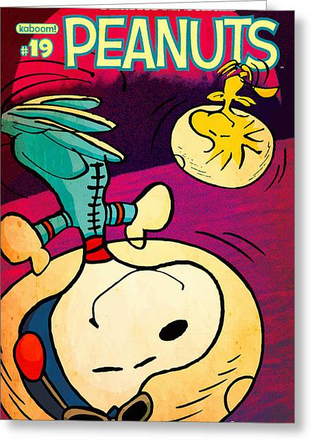 Label Greeting Cards - Peanuts - Deep Space advanture Greeting Card by Don Kuing