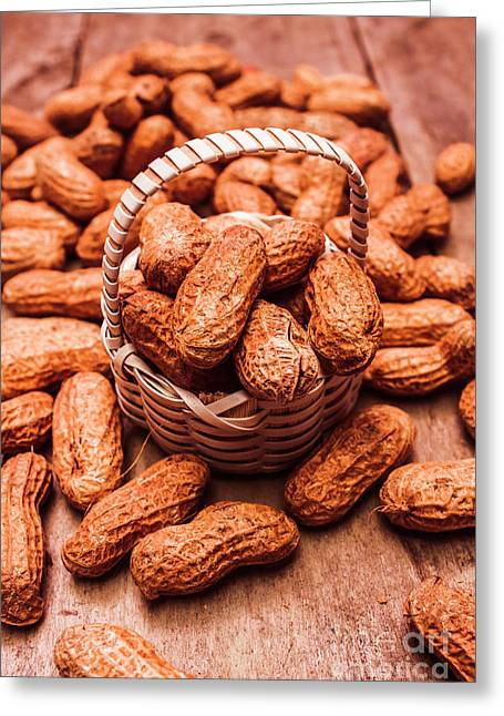 Peanuts In Tiny Basket In Close-up Greeting Card by Jorgo Photography - Wall Art Gallery