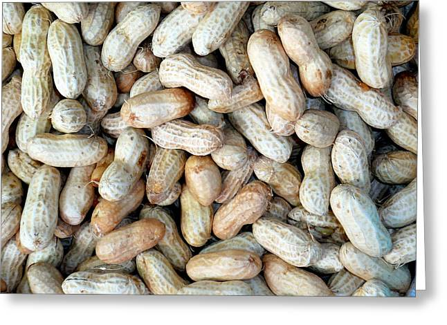 Background Greeting Cards - Peanuts on sale at fruit market Greeting Card by Lanjee Chee