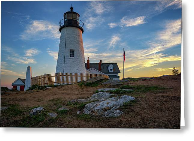 Pemaquid Point Lighthouse At Sunset Greeting Card by Rick Berk