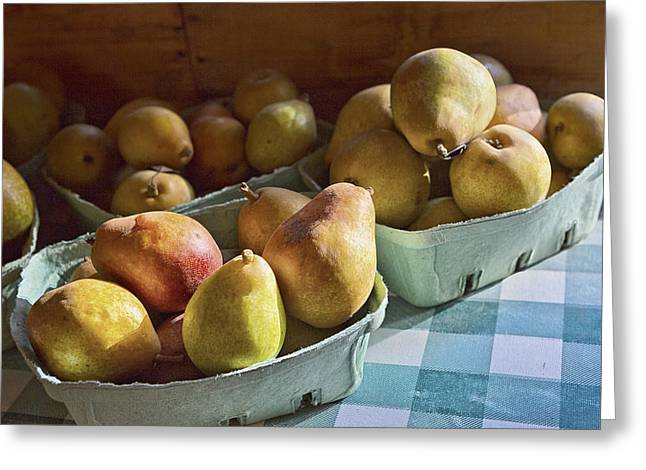 Checked Tablecloths Photographs Greeting Cards - Pear Golden Greeting Card by Caitlyn  Grasso