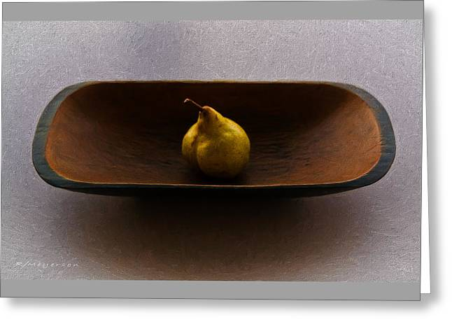 Wooden Bowl Digital Greeting Cards - Pear In Bowl Greeting Card by Robert Meyerson