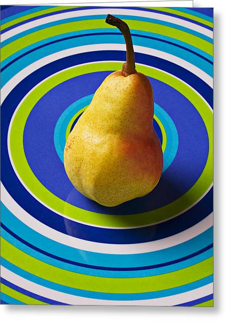 Fresh Produce Greeting Cards - Pear on plate with circles Greeting Card by Garry Gay