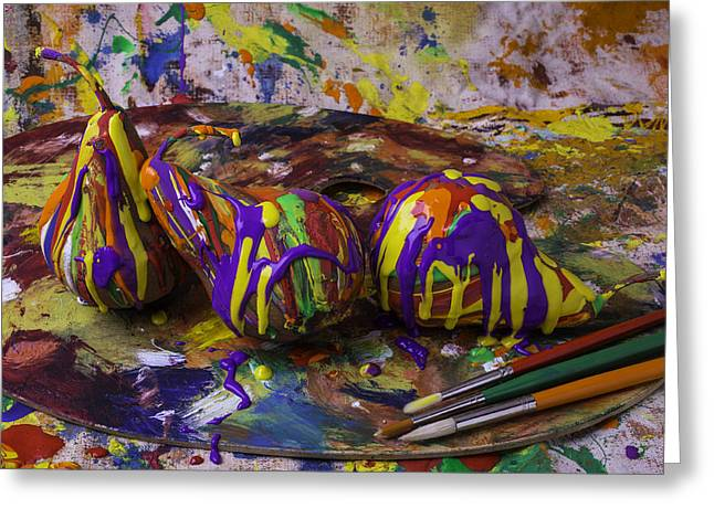 Dripping Paint Greeting Cards - Pear Paint Still Life Greeting Card by Garry Gay