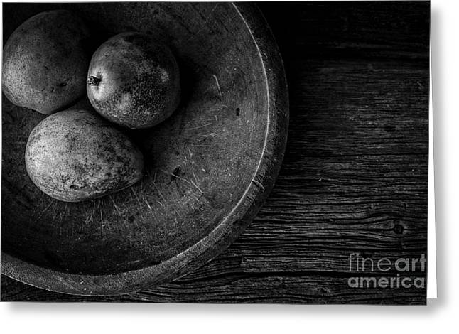 Wooden Bowls Photographs Greeting Cards - Pear Still Life in Black and White Greeting Card by Edward Fielding