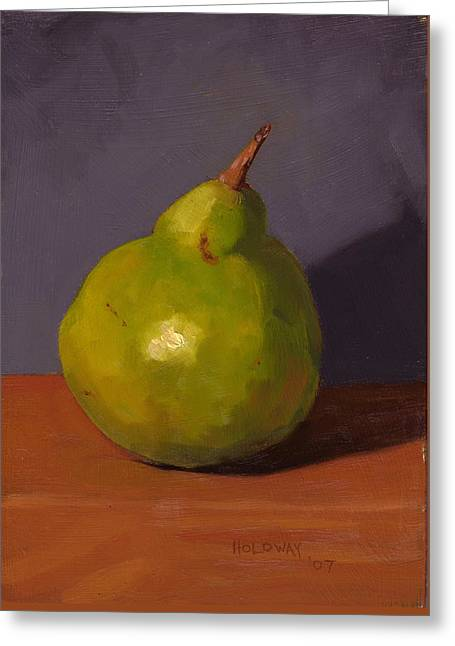 Pear With Gray Greeting Card by John Holdway