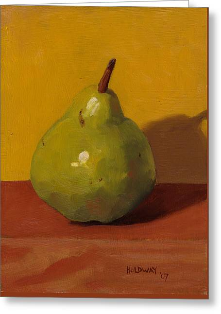Pear With Yellow Greeting Card by John Holdway