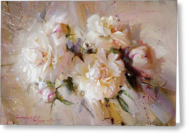 Flower Still Life Prints Greeting Cards - Pearl bouquet Greeting Card by Ramil Gappasov