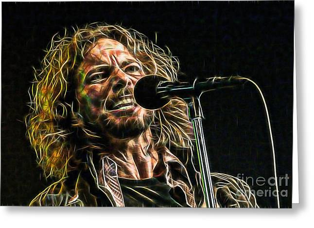 Pearl Jam Greeting Cards - Pearl Jam Eddie Vedder Collection Greeting Card by Marvin Blaine