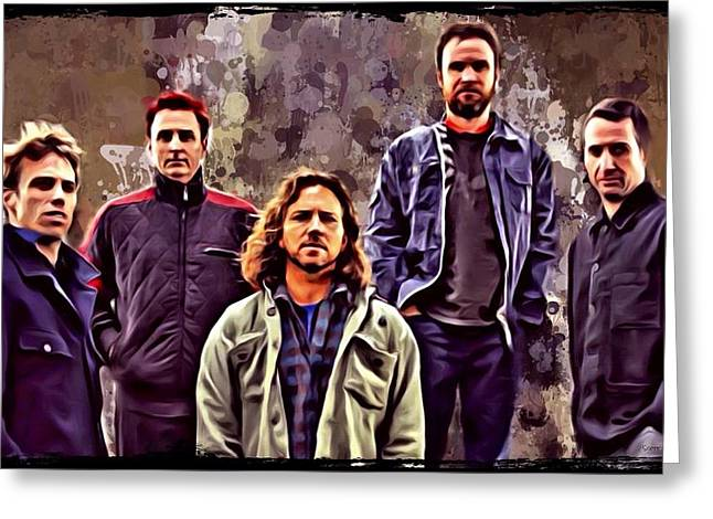 Dave Greeting Cards - Pearl Jam Portrait Greeting Card by Scott Wallace