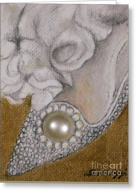 Flower Still Life Tapestries - Textiles Greeting Cards - Pearl Shoe Greeting Card by Jayne Somogy