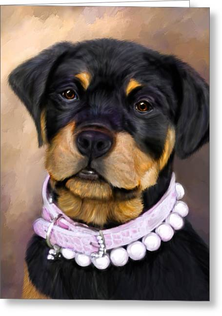 Pearlie Girlie Greeting Card by Elizabeth Murphy