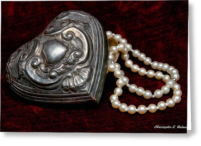 Pearl Jewelry Greeting Cards - Pearls From The Heart Greeting Card by Christopher Holmes