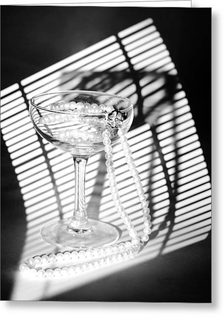 Artist Photographs Greeting Cards - Pearls in Wineglass. Light and Shadows Greeting Card by Dmitry Soloviev