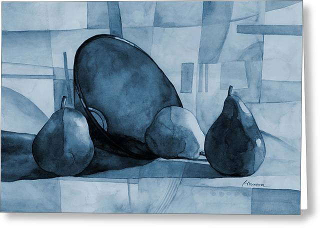 Blue And Green Greeting Cards - Pears and Blue Bowl on Blue Greeting Card by Hailey E Herrera