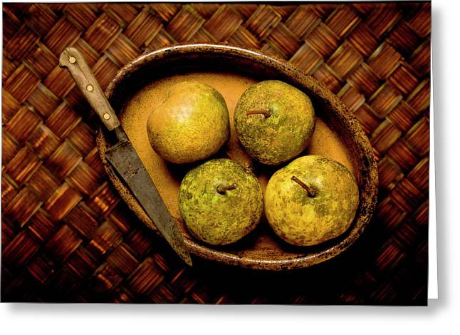 French Pears Greeting Cards - Pears and dish Greeting Card by John Pagliuca
