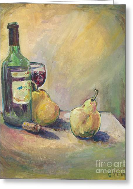 Fruit And Wine Greeting Cards - Pears and Wine Greeting Card by Cheryl Emerson Adams