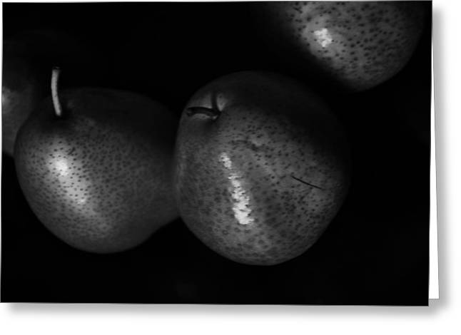 Light And Dark Greeting Cards - Pears black and white Greeting Card by Damijana Cermelj