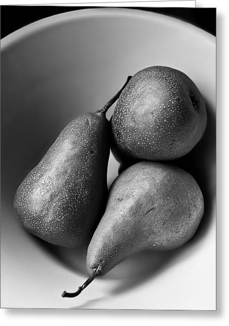 Pears In A Bowl In Black And White  Greeting Card by Maggie Terlecki
