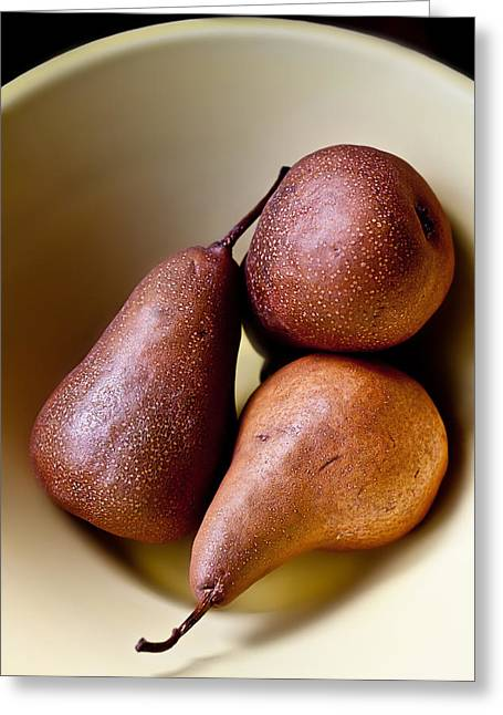 Pears In A Bowl Greeting Card by Maggie Terlecki