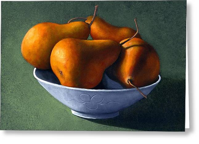 Food Still Life Greeting Cards - Pears in Blue Bowl Greeting Card by Frank Wilson