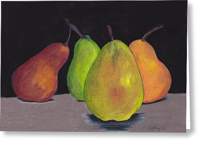 Pear Art Drawings Greeting Cards - Pears In Colors Greeting Card by Lea Velasquez