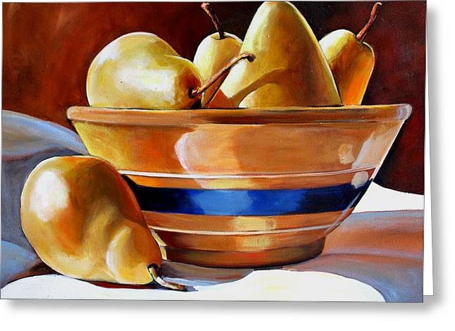 Pears In Yelloware Greeting Card by Toni Grote