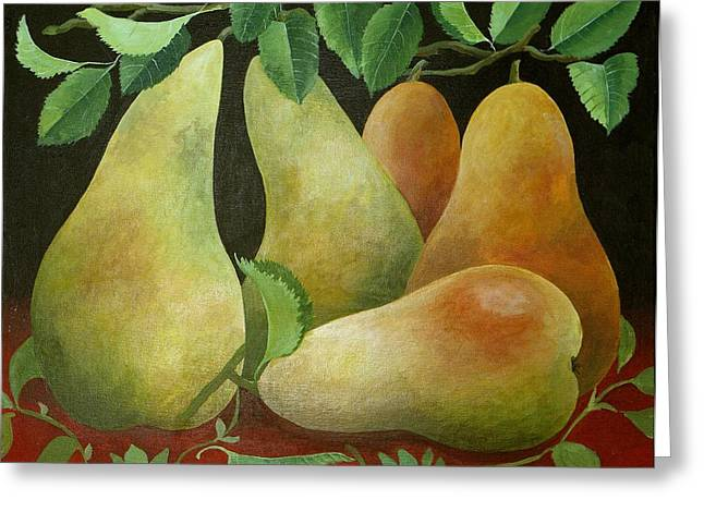 Pear Art Greeting Cards - Pears Greeting Card by Jennifer Abbot