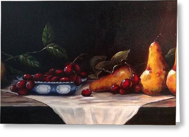 Blue Grapes Greeting Cards - Pears Greeting Card by Norma Lee Pfaff