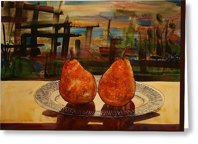Pare Mixed Media Greeting Cards - Pears on a Crystal Plate Greeting Card by Shirley Sykes Bracken
