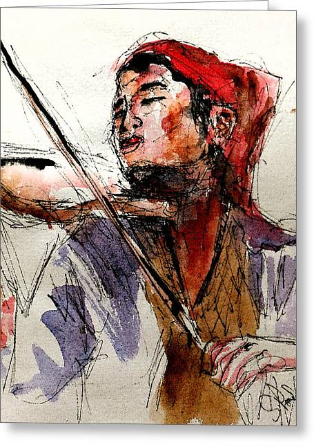Eatoutdoors Greeting Cards - Peasant violinist Greeting Card by Steven Ponsford