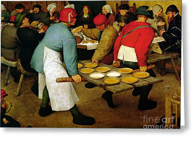 Waitresses Greeting Cards - Peasant Wedding Greeting Card by Pieter the Elder Bruegel