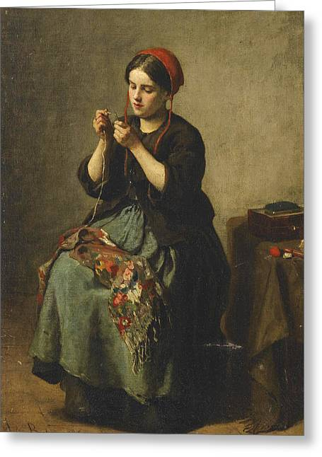 Peasant Woman Threading A Needle Greeting Card by Jules Breton