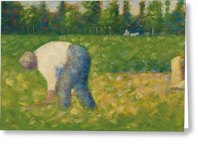 Seurat Greeting Cards - Peasant Working Greeting Card by Georges Pierre Seurat