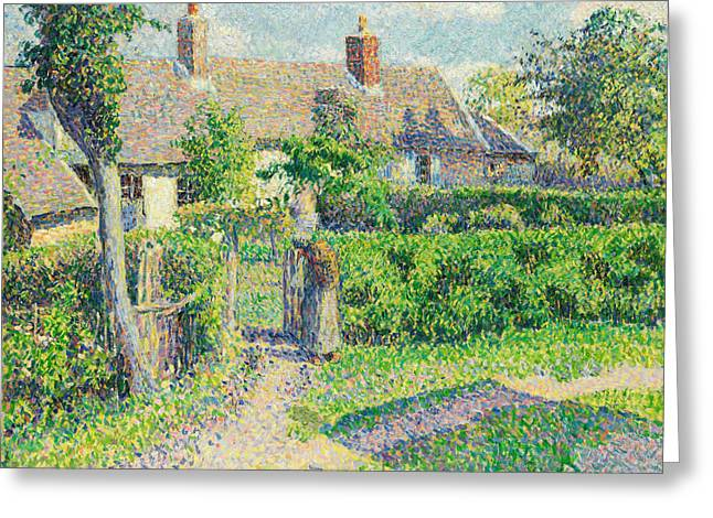 Peasants' Houses, Eragny Greeting Card by Camille Pissarro