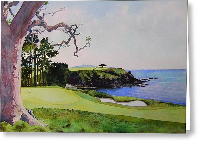 Us Open Golf Paintings Greeting Cards - Pebble Beach gc 5th hole Greeting Card by Scott Mulholland