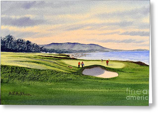 Linked Paintings Greeting Cards - Pebble Beach Golf Course Greeting Card by Bill Holkham