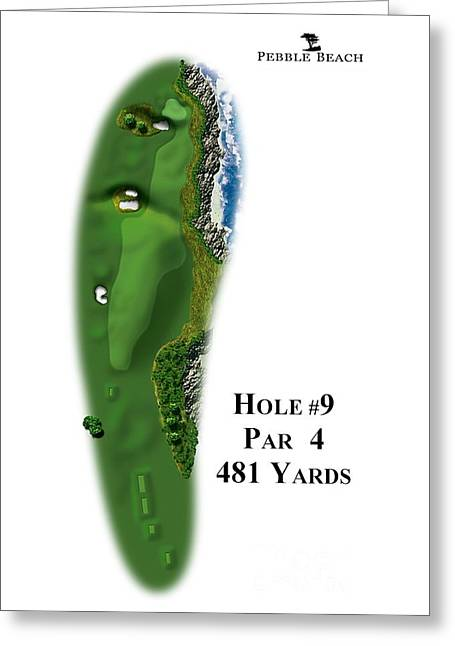 9th Hole Greeting Cards - Pebble Beach No 9 Greeting Card by Spencer McKain