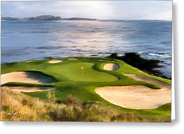 Golf Hole Greeting Cards - Pebble Beach No.7 Greeting Card by Scott Melby