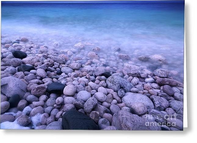 Pebble shore of Georgian Bay in winter Greeting Card by Oleksiy Maksymenko