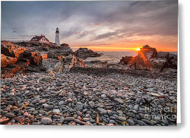 Maine Beach Greeting Cards - Pebbles and Flotsam at Portland Head Light Greeting Card by Benjamin Williamson